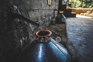 Distilling mezcal at the palenque